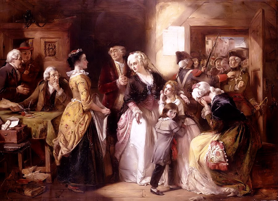 Louis XVI and his family, dressed as commoners, arrested in Varennes. Picture by Thomas Falcon Marshall (1854)